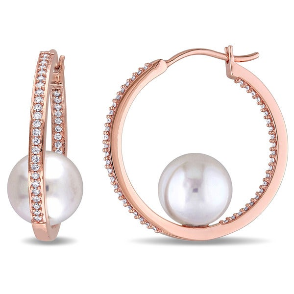 8918b7c0e369a Shop Miadora 14k Rose Gold Cultured Freshwater White Pearl and 1/2ct ...