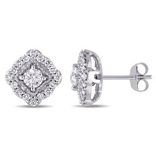 Miadora 14k White Gold 1ct TDW Diamond Cushion-style Halo Stud Earrings