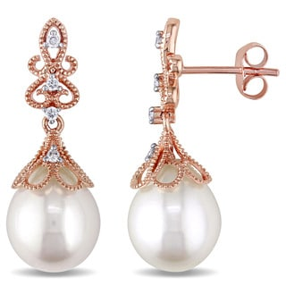 Miadora 14k Rose Gold Cultured Freshwater White Pearl and 1/10ct TDW Diamond Vintage Drop Earrings (G-H, SI1-SI2) (9-9.5 mm)