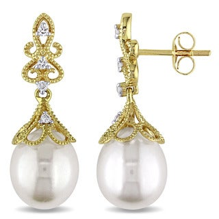 Miadora 14k Yellow Gold Cultured Freshwater White Pearl and 1/10ct TDW Diamond Vintage Drop Earrings (G-H, SI1-SI2) (9-9.5 mm)