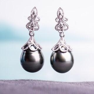 Miadora 14k White Gold Tahitian Black Pearl and 1/10ct TDW Diamond Vintage Drop Earrings (G-H, SI1-SI2) (9-9.5 mm)