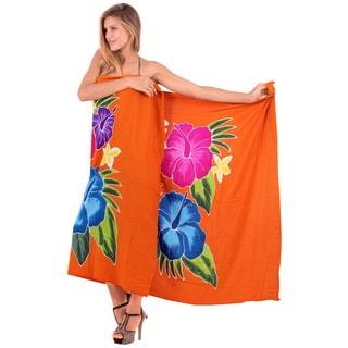 Women's La Leela Orange Hibiscus Rayon 78-inch x 43-inch Beach Coverup With Sarong Clip