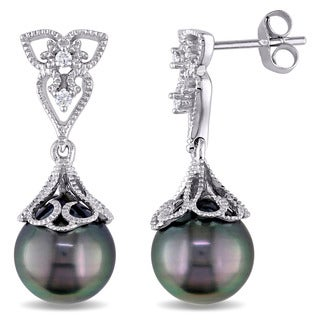 Miadora 14k White Gold Tahitian Black Pearl and Diamond Accent Vintage Drop Earrings (9-9.5 mm)