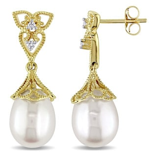 Miadora 14k Yellow Gold Cultured Freshwater White Pearl and Diamond Accent Vintage Drop Earrings (9-9.5 mm)