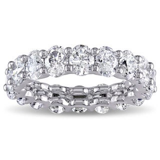 Miadora Signature Collection 18k White Gold 3 3/5ct TDW IGI Ceritifed Oval-cut Diamond Stackable Eternity Ring (F-G, VS2-SI1)