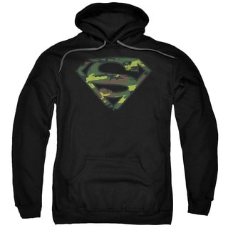 Superman/Distressed Camo Shield Adult Pull-Over Hoodie in Black
