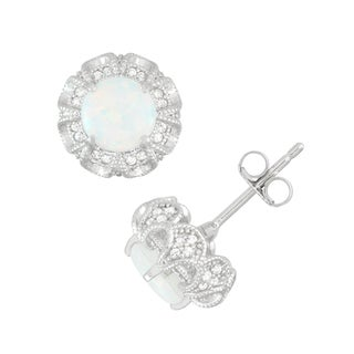 Gioelli Sterling Silver Round Simulated Opal and Created White Sapphire Accent Earrings