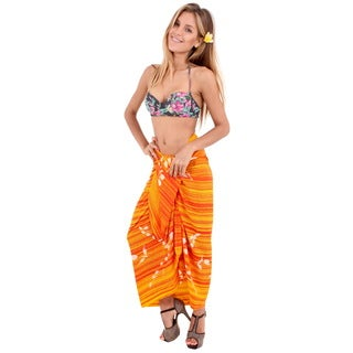 La Leela Bikini Cover up Swimsuit Sarong Beachwear Wrap Rayon Swimwear Dress Yellow 3X