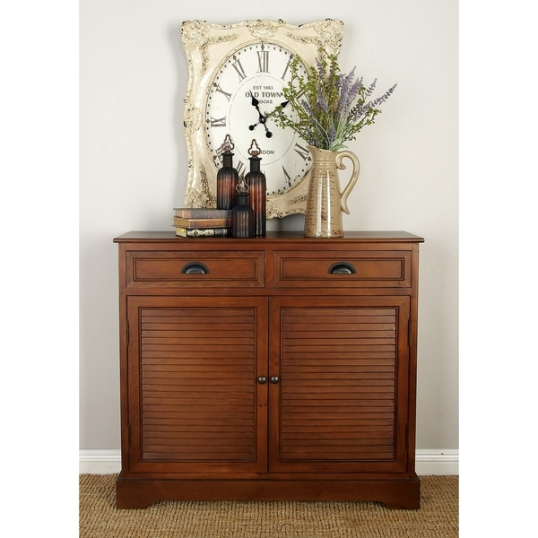 Traditional 36 x 40 Inch Brown Louvered Wooden Cabinet by Studio 350