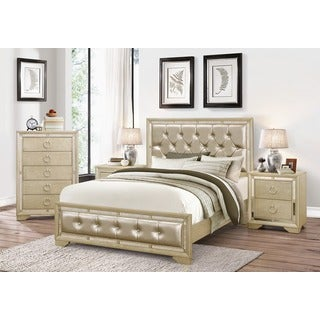Abbyson Valentino Mirrored and Leather Tufted 4-piece King Bedroom Set