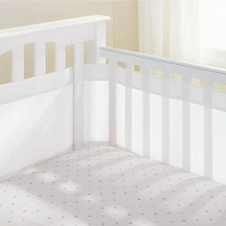 Breathable Baby White Mesh 14-inch Crib Liner