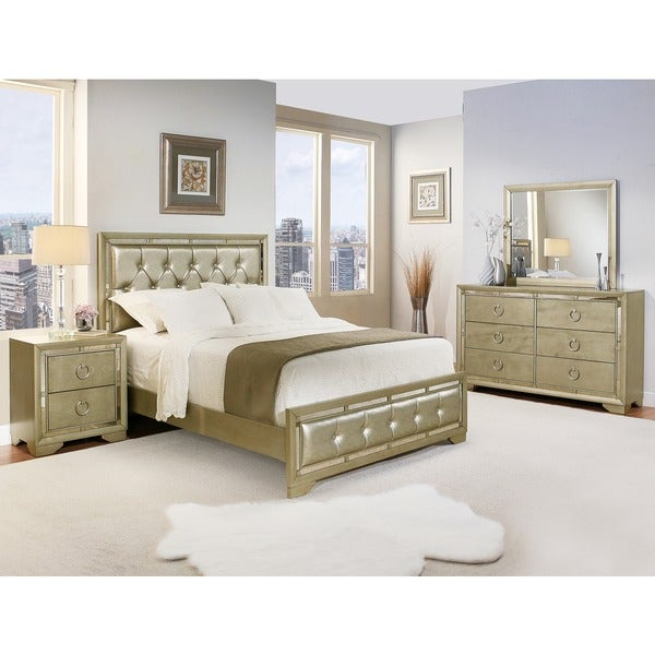 Abbyson Valentino Mirrored And Leather Tufted 5 Piece California King Size Bedroom Set Free