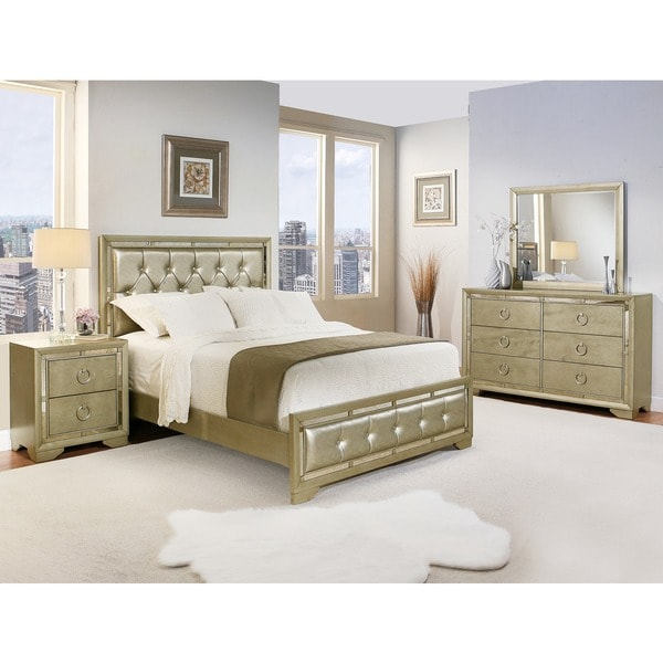 Abbyson valentino mirrored and leather tufted 5 piece california king size bedroom set free for 6 piece king size bedroom sets