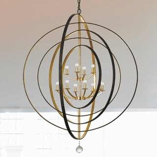 Crystorama Luna Collection 12-light English Bronze/Antique Gold Chandelier