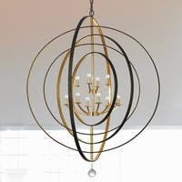 12-light English Bronze/Antique Gold Chandelier