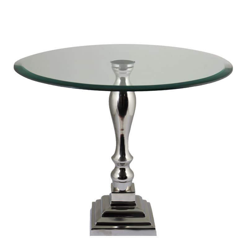 Benzara Stunning Aluminum (Silver) and Glass Table By Ent...