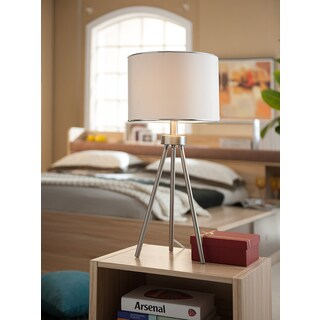 K&B Furniture Traditional White Brushed Nickel and Fabric Table Lamps (Set of 2)