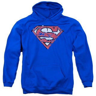 Superman/Ripped and Shredded Adult Pull-Over Hoodie in Royal Blue