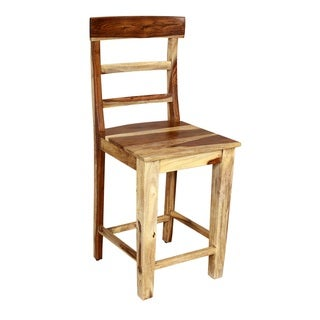Handmade Porter Taos Solid Sheesham 24-inch Ladder Back Counter Height Chair Stool (India)