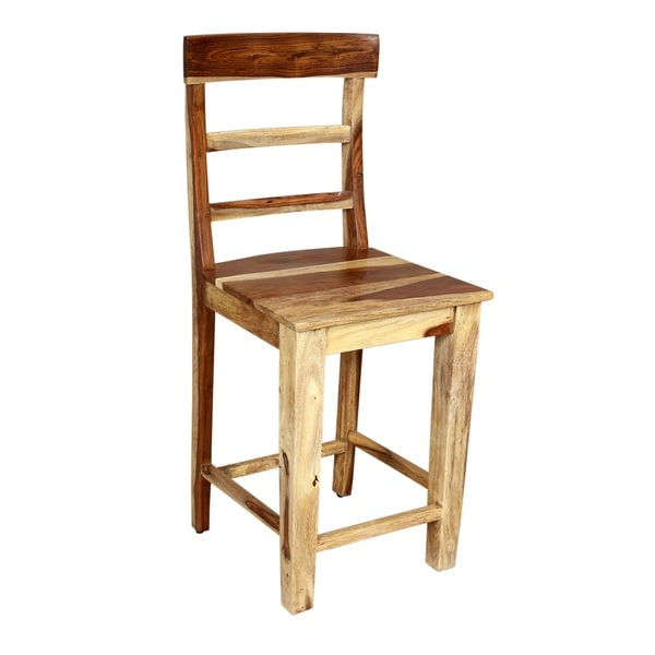 Bon Handmade Porter Taos Solid Sheesham 24 Inch Ladder Back Counter Height Chair  Stool (India