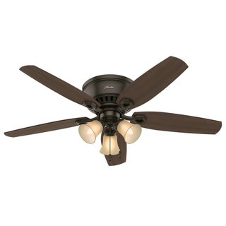 """Hunter 52"""" Builder Low Profile Ceiling Fan with 3-Light LED Light Kit and Pull Chains - New Bronze - N/A"""