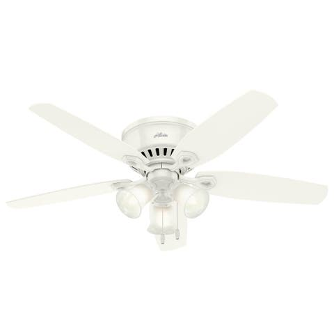 """Hunter Fan 52"""" Builder Low Profile Ceiling Fan with 3-Light LED Light Kit and Pull Chains - Snow White - N/A"""