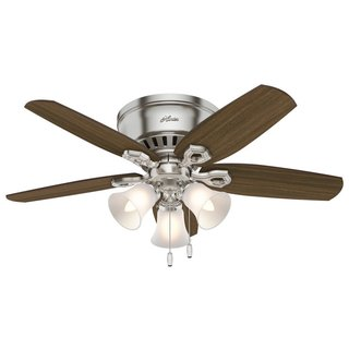 Hunter Fan Builder Brushed Nickel With 5 Brazilian Cherry and Harvest Mahogany Reversible Blades 42-inch Ceiling Fan