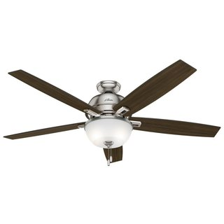 Hunter Donegan Collection 60-inch Brushed Nickel Fan with Reversible Blades - Silver