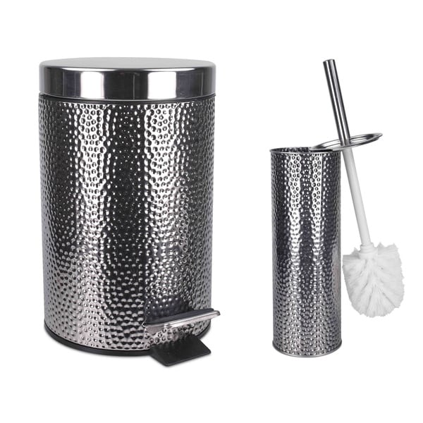 shop home basics deluxe hammered stainless steel bathroom accessories free shipping on orders. Black Bedroom Furniture Sets. Home Design Ideas