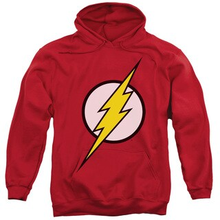 JLA/Flash Logo Adult Pull-Over Hoodie in Red