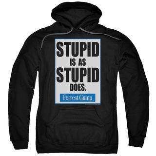 Forrest Gump/Stupid Is Adult Pull-Over Hoodie in Black