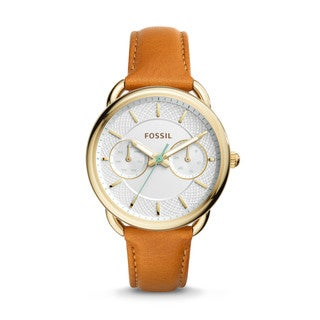 Fossil Women's ES4006 Tailor Multi-Function White Dial Brown Leather Watch