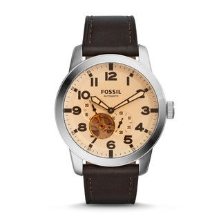 Fossil Men's ME3119 Pilot 54 Automatic Silver Dial Brown Leather Watch