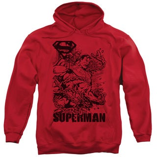 Superman/Breaking Chains Adult Pull-Over Hoodie in Red