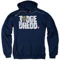 Judge Dredd/Logo Adult Pull-Over Hoodie in Navy