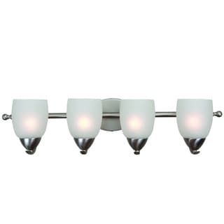 Ann Brushed Nickel Finish 4-light Vanity Light Fixture with White Etched Glass