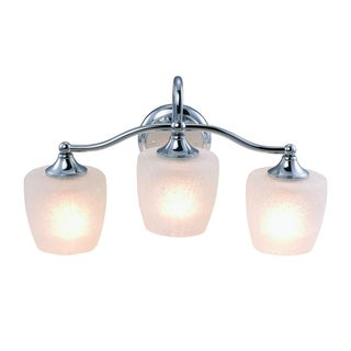 Eva Chrome Finish 3-light Vanity Light Fixture with Frosted Crackle Glass