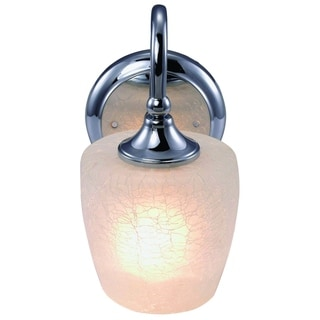 Eva White and Silver Metal Chrome Finish 1-light Vanity Light Fixture with Frosted Crackle Glass