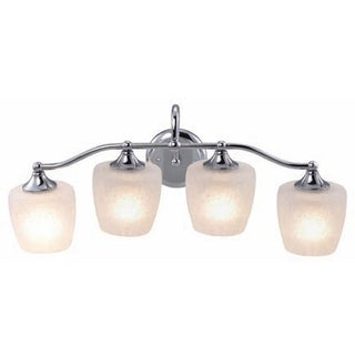 Eva Chrome Finish 4-light Vanity Fixture with Frosted Crackle Glass