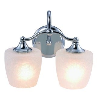 Eva Chrome Finish 2-light Vanity Light Fixture with Frosted Crackle Glass
