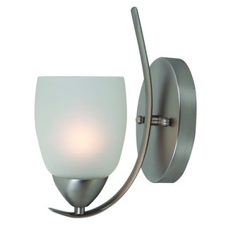 Ann Brushed Nickel 1-light Vanity Light Fixture with White Etched Glass