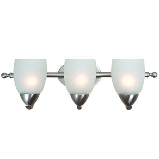 Ann Brushed Nickel Finish 3-light Steel Vanity Light Fixture with White Etched Glass