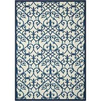 Nourison Home and Garden Blue Indoor/ Outdoor Rug (7'9 x 10'10)