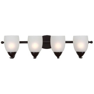 Bathroom Light Fixture Ann Oil Rubbed Bronze Finish 4-light Vanity Light Fixture with White Etched Glass
