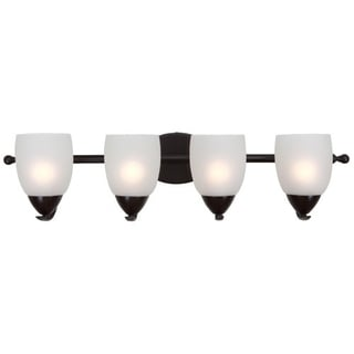 Ann Oil Rubbed Bronze Finish 4-light Vanity Light Fixture with White Etched Glass