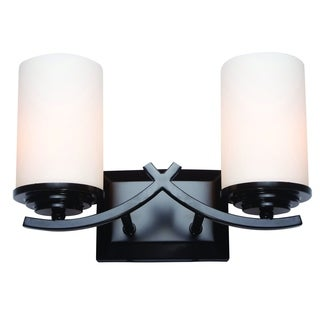 Vanity Light Fixture Brina Contemporary Oil Rubbed Bronze Finish 2-light Steel Vanity Light Fixture with White Opal Glass