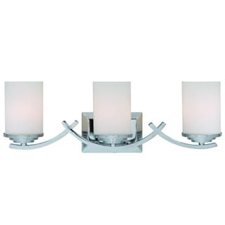 Brina Polished Chrome Finish 3-light Vanity Light Fixture with White Opal Glass