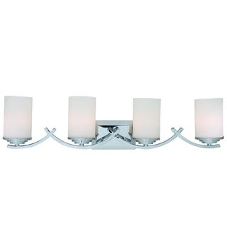 Brina Polished Chrome Finish 4-light Vanity Light Fixture with White Opal Glass