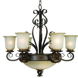 Gianni Sturdy Bronze Patina Finish 9-light Steel Chandelier with Soft Opaque Glass Shades