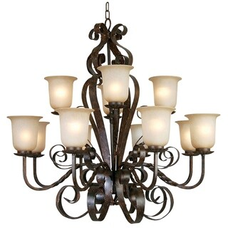 Y-Decor Gianni Bronze Patina Steel Finish 12-light Chandelier with Alabaster Glass